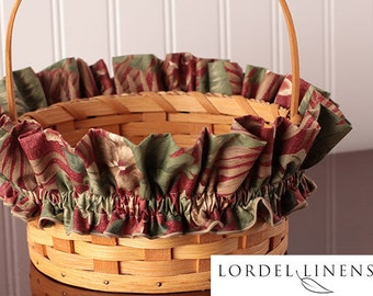 Medium Basket Garter with Green and Tan Palm Leaves, Tropical Floral Basket Garter Green, Tan and Red  Kauai Fabric Collection by Cranston