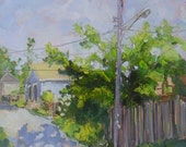 Giclee PRINT of Plein air oil painting. Small town alley scene. Limited edition. Highest quality reproduction very affordable landscape