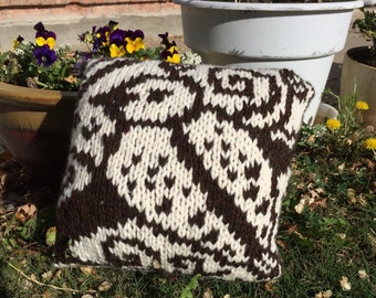 Hand Knitted Pillow / Cream and Brown 12 x 12 - Put a Bird On It