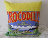 Cushion Cover/Pillow - home decor - Crocodiles of Australia tea towel upcycled to cushion cover in yellow with invisible zip. 18 x 18 inch