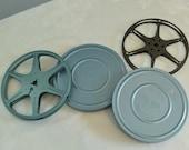 Vintage Movie Film Tins Blue Tins Round Film Tins Movie Gift Card Packaging Film Collectible Rikes Camera Tin Dayton Camera Shop
