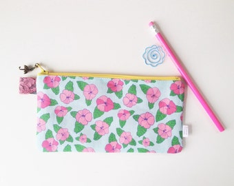 Hibiscus Divided Pencil Case (handmade philosophy's pattern)