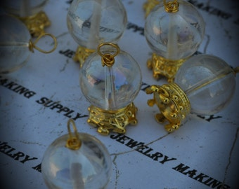 Large Crystal Ball Gold Plated Charm Pendant