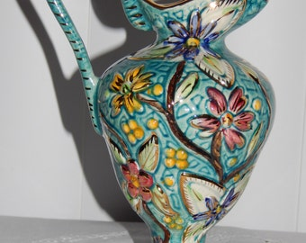 Beautiful Henri Bequet Hand Painted Majolica Tall Vase Footed