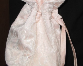 Pink Satin and Cream Rosy Lace Drawstring Purse