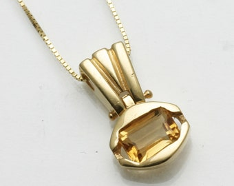 Vintage 14k yellow gold Golden Citrine Emerald Cut Modern handmade 0.85 carat