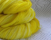 Sale: Hand-Dyed Laceweight Yarn - SAFFRON & SUNSHINE - 1.7 oz - Superwash Wool and Bamboo Yarn - Yellow Lace, Kettle Dyed variegated yarn