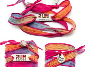 RUN INSPIRED - Running Silk Wrap Bracelet - PINK, Run Jewelry, Gift for Runners, Running Motivation, Running Partner Gifts, Run Bracelet