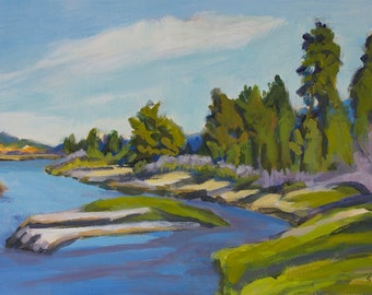 Peaceful Place Odell Creek at East Davis Lake CG Original Painting