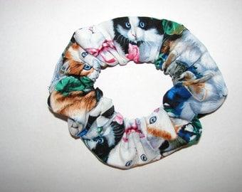 Blue Eyed Cats Kittens Felines Fabric Hair Scrunchie, womans scrunchies, cat lover gifts, women's accessories, feline fenatics, pet lovers