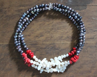 Freshwater Pearl and Coral Multi Strand Statement Necklace Red, Blue, and Ivory