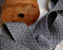 Vintage French jacquard trim, woven trim, silk and cotton, vintage French braid, French passementerie, dark silver grey, platinum grey