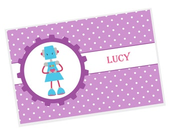 Robot Personalized Placemat - Robot Girl Purple Dots with Name, Customized Laminated Placemat