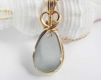 Seaglass Pendant, Pale Gray Blue, Wire Wrapped in Gold, Beach Glass Pendant, Wedding Jewelry, Blue Grey Seaglass, Beach Wedding, Genuine