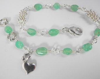 Chrysoprase Bracelet, Apple Green Bracelet, Green Chrysophrase Wire Wrapped in Silver, Mystical Moon Designs