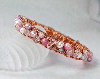 Rose Gold Bangle . Jeweled Cuff