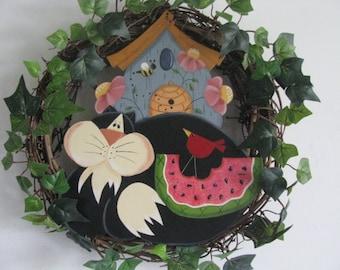Cat, Birdhouse, Beehive, Wreath, Handpainted, Wall/Door Wreath Decor with Cat, Birdhouse, Watermelon