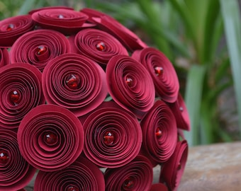 Wedding Bouquet Burgundy Rose Flower bridesmaid bouquet Twine Rustic cottage chic style 30 flowers