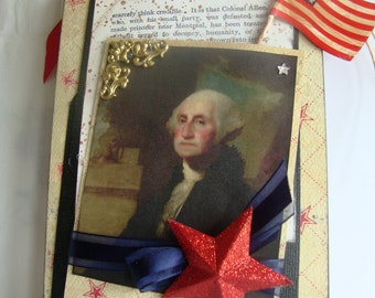 Father of Our Country ~~~ George Washington ~~~ Patriotic Pocket  Tag/Decor