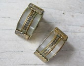 Vintage damascene and lucite clip on earrings