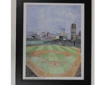 Boston Baseball Park drawing framed art print