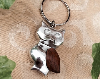 Recycled Aluminum & Bayong Wood Owl Keychain