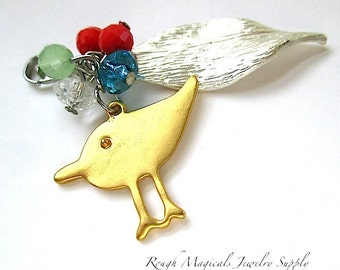Mixed Metal Pendant, Gold Bird, Silver Leaf, Colorful Beads, Cluster Dangle, Lobster Claw Clasp SP361