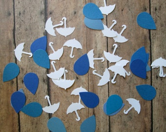 White Umbrellas and Blues Raindrop Confetti- Umbrella Raindrops Confetti, Baby showers, Shower table,  showers of love, theme party