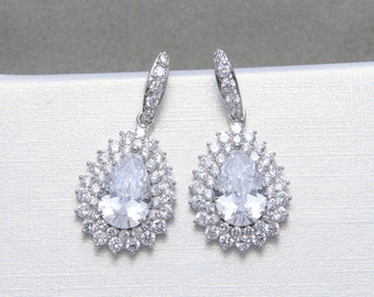 Cubic Zirconia Earrings, Teardrop Pear Dangle Stud Earrings, Bridal Earrings, Wedding Bridesmaids Earrings, Christmas Gift, Birthday Gift