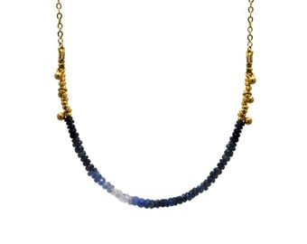 Ombre Blue Sapphire Necklace. Beaded Necklace in Emerald, Sapphire, or Ruby. Sterling Silver or Gold Fill. NS-1750