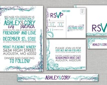 "Printable Wedding Invitation, RSVP, Info card, Monogram with Playful Doodle Design -Modern Purple and Teal Custom design - ""Playful Romance"""
