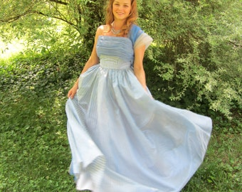 50's Prom Dress 1950s Blue Frilly Organza and Tulle Dress Vintage 1950's 50s Bombshell Strapless Tulle Cinderella Party Prom Dress