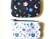 Kawaii Cute Harajuku Cat Neko Star Moon Planet Space Galaxy Anime Manga Cartoon Pastel Goth Soft Grunge Uchuu Kei Pouch Coin Purse (Small)