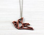 origami bird necklace copper wooden pendant