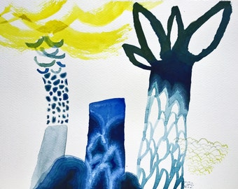 original watercolor on paper 13 x 9 inch