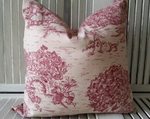 Pillow Cover - French Pillow Cover - French Toile Pillow Cover - Cottage Pillows - Red Toile Pillows - Farmhouse Pillows - Bedroom Pillows