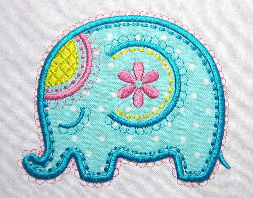 Elephant applique embroidery design an