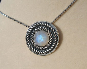 Rainbow Moonstone Sterling Silver Pendant WAS 65.00 On SALE 50.00