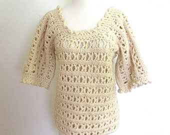 Vintage Crocheted Sweater Top