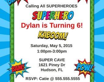Super Hero Starburst Birthday Invitation