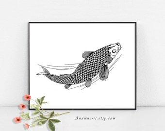 KOI FISH - Instant Dowload - printable antique fish illustration for prints, scrapbooking, totes, cards, nursery art etc. - fun wall decor