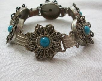 Bracelet ~ Filigree Flowers & Faux Turquoise ~ Boho Hippie Chic Vintage Costume Jewelry ~ Silver tone