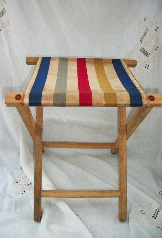 French stripe canvas wooden seat foot stool folding