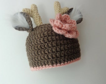 Newborn Crochet Deer Hat Photo Prop Baby Girl Baby Boy