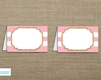 Pink and Gold Blank Party Labels, Place Cards, Baby Shower Printable, Instant Download, Gold Glitter printable, Pink & Gold Birthday