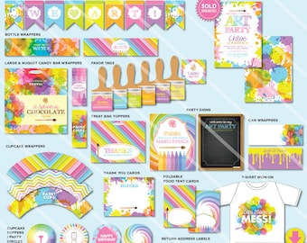 Art Party Decorations, Art Party Printables, Printable Art Party Package, Party Kit, ON SALE