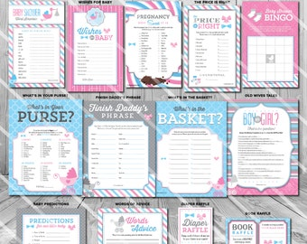 Gender Reveal Party Games | Bows or Bowties Baby Shower | Printable | Pink Blue | ONE GAME You Choose | Invitation & Decorations Available