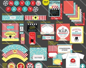 Movie Birthday Party Printables | Boy Movie Theme Printable Party Package | Movie Theater Decor | Invitation Available | Instant Download