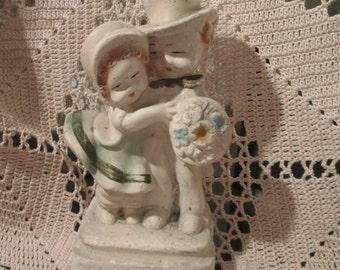 Vintage Early Chalkware Couple