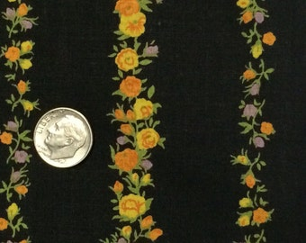 Cotton Fabric Black Floral Fabric 1 2/3 Yard